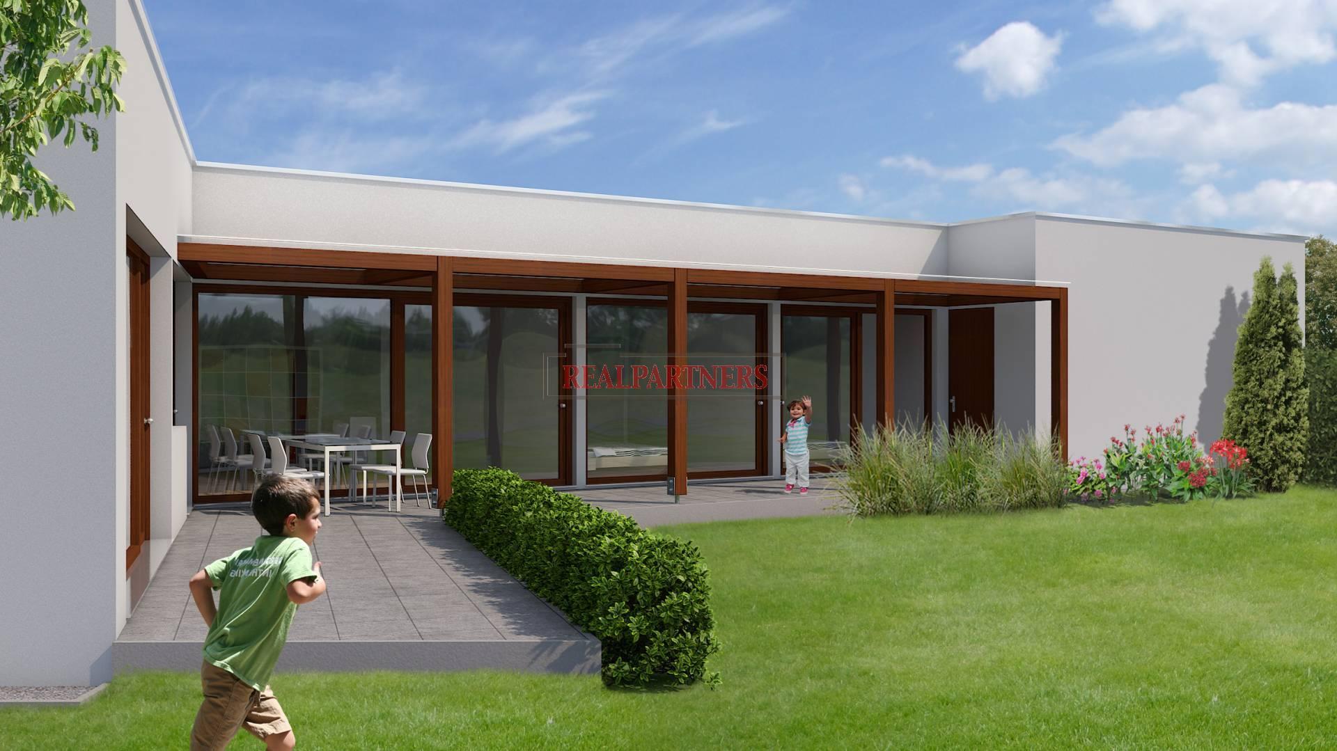 Nový bungalov 4+kk o ploše 112,45 m² + 66,4m² terasa + 45,65m² garáž na pozemku 610m².