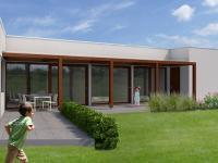 Nový bungalov 4+kk o ploše 112,45 m2 + 66,4m2 terasa + 45,65m2 garáž na pozemku 610m2.