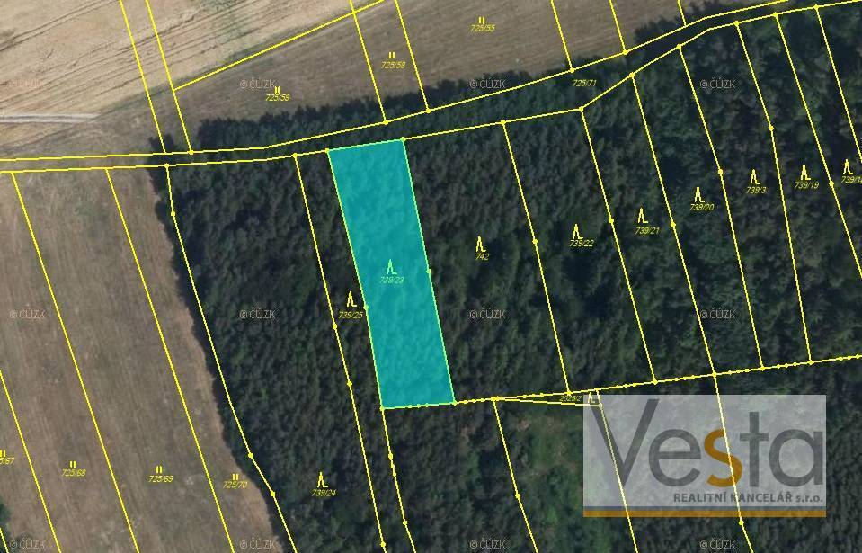 Lesní pozemek o výměře 1 651 m2, obec Lubná