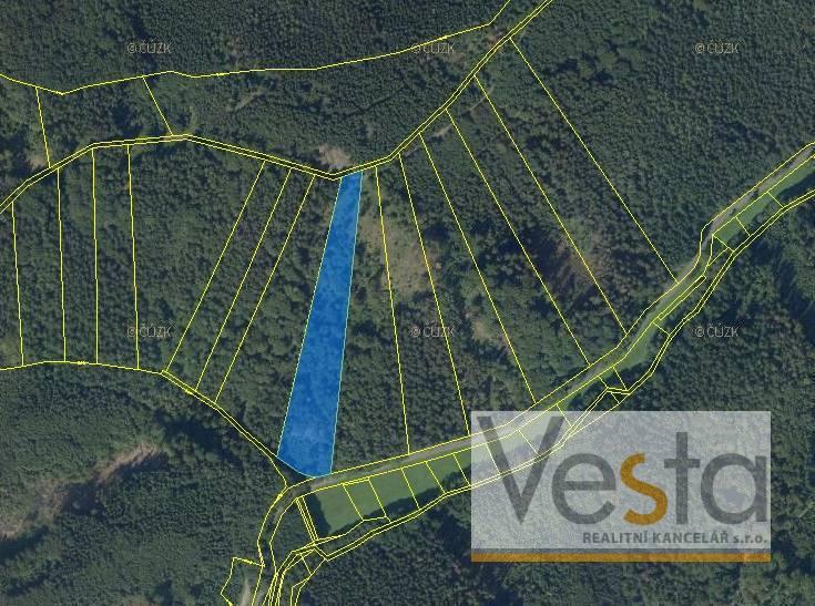 Lesní pozemek o výměře 10 437 m2, obec Nemile